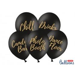 5 ballons Candy Bar, Chill, Dance Floor, Drinks, Photo Booth - Noir
