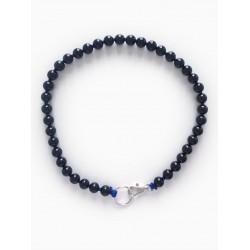Collier porte-clés perle - noir cordon bleu foncé