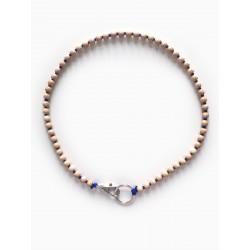 Collier porte-clés perle - naturel cordon noir