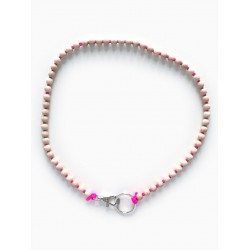Collier porte-clés perle - naturel cordon rose