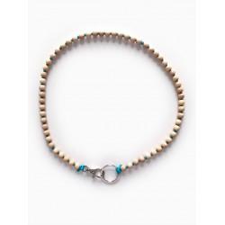 Collier porte-clés perle - naturel cordon bleu électrique