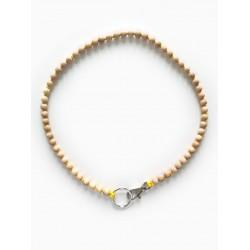 Collier porte-clés perle - naturel cordon jaune