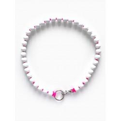 Collier porte-clés perle - blanc cordon rose