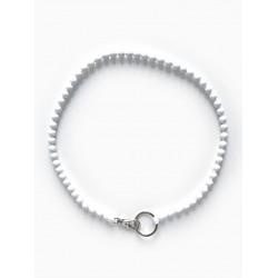 Collier porte-clés perle - blanc cordon bleu électrique