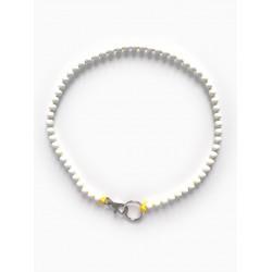 Collier porte-clés perle - blanc cordon jaune