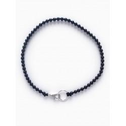 Collier porte-clés perle - noir cordon blanc