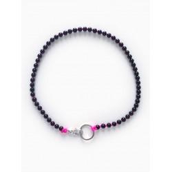 Collier porte-clés perle - noir cordon rose