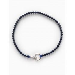 Collier porte-clés perle - noir cordon bleu électrique