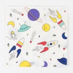 20 serviettes en papier - cosmonaute