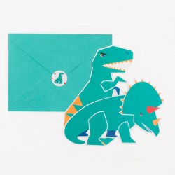 8 invitations - dinosaure