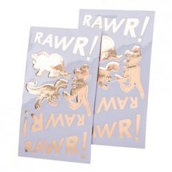 12 stickers dorés dinosaure et rawr 3 à 8cm