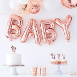"Guirlande ballons mylar ""Baby"" - or rose"