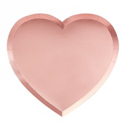 8 assiettes coeur or rose