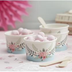 8 petits pots à glace fleuri
