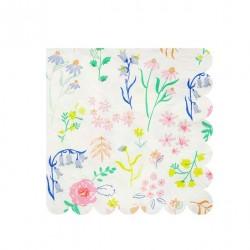 20 petites serviettes fleurs des champs