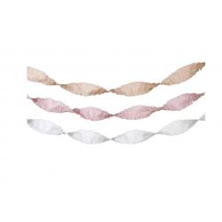 3 guirlandes en papier crépon - Rose clair, blanc et crème