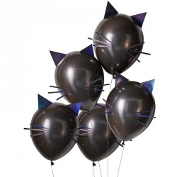 5 ballons - Chat noir