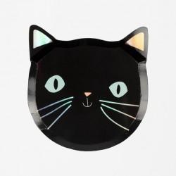8 assiettes chat noir