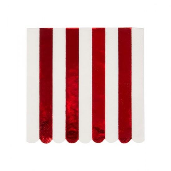 16 petites serviettes lignées rouge métallique et blanc