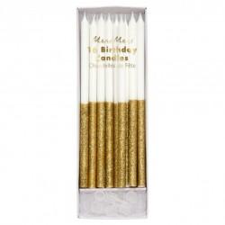 16 grandes bougies paillettes - Or