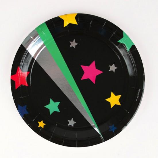 8 assiettes - étoiles disco