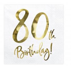 20 serviettes 80th Happy birthday