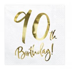 20 serviettes 90th Happy Birthday