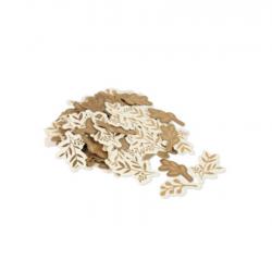 Confettis - Feuilles kraft, ivoire et bronze