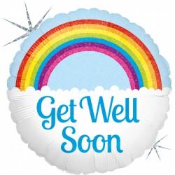 Ballon mylar Get well soon rainbow