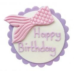 Décoration en pâte à sucre - Happy birthday sirène