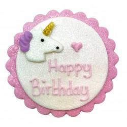 Décoration en pâte à sucre - Happy birthday licorne