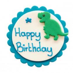 Décoration en pâte à sucre - Happy birthday dinosaure