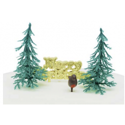 4 toppers - 2 sapins, oiseau et Merry christmas