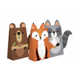 8 sachets en papier - animaux de la forêt