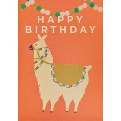"Carte ""Happy birthday"" - lama"