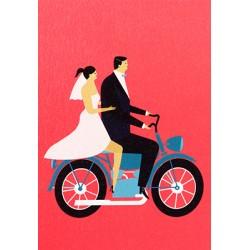 Carte mariage - Mariés moto