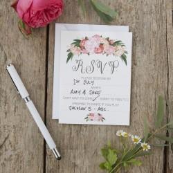 10 cartes réponse RSVP fleuri