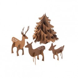 CENTRE DE TABLE FORET 3 CERFS 1 SAPIN