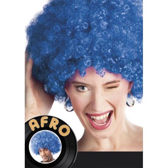 Perruque Afro bleu