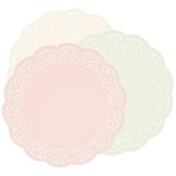 12 napperons 26,5cm - rose et blanc