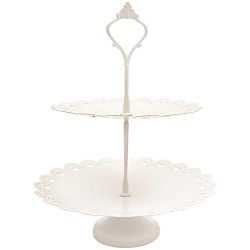 Présentoire à gâteau 2 niveaux - blanc