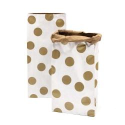 Sac en papier L - Blanc et poids or