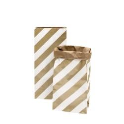 Sac en papier M - Blanc et rayures or