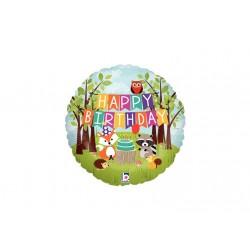 Ballon mylar- Happy Birthday animaux des bois