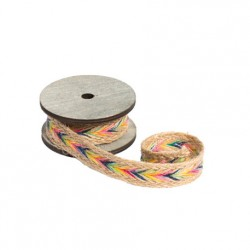 1 ruban mexico jute naturelle et multicolore 2mx2,8cm
