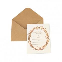 10 invitations enveloppe et coupon réponse kraft ivoire