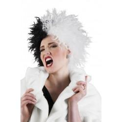 Perruque Cruella blanche et noire