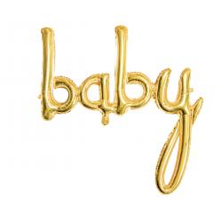 """Ballon aluminium """"baby"""" calligraphie - Or"""