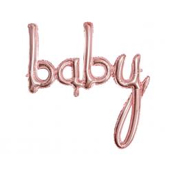 """Ballon aluminium """"baby"""" calligraphie - Or rosé"""