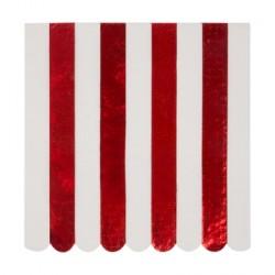 16 serviettes - Ligné rouge mylar et blanc